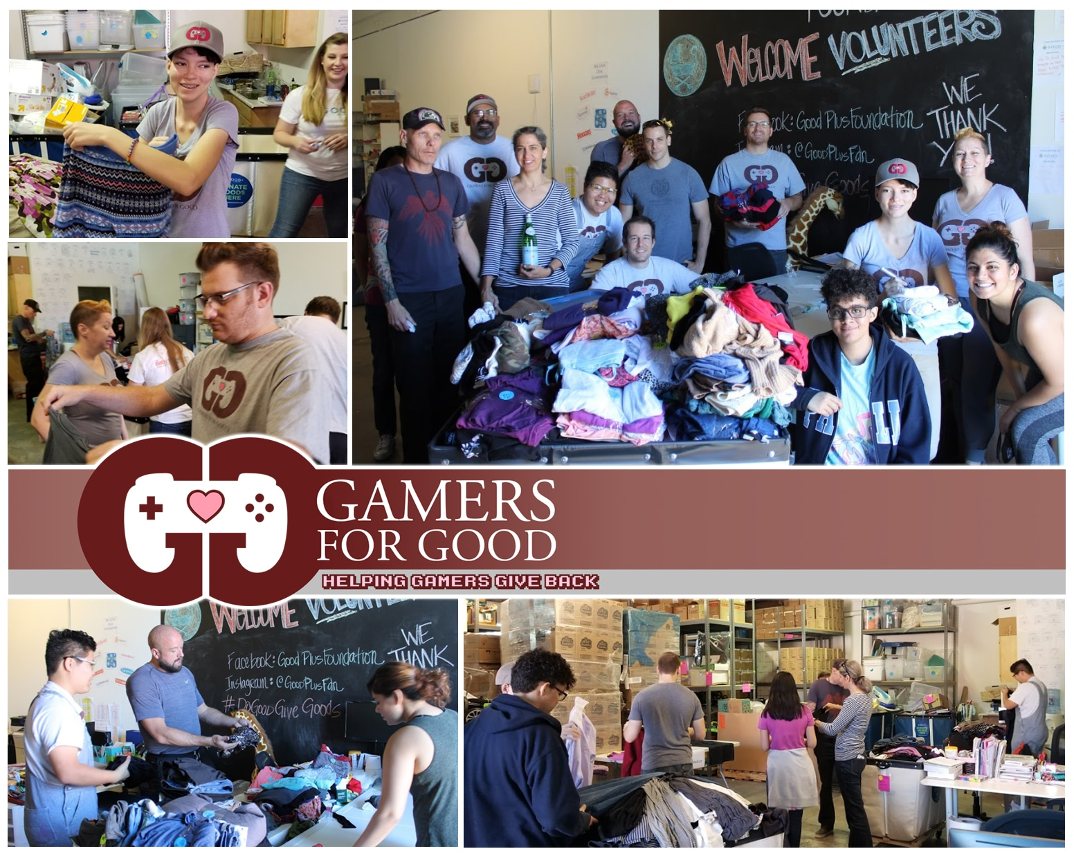 Gamers for Good volunteer to help cloth LA's needy Families with Good+ Foundation
